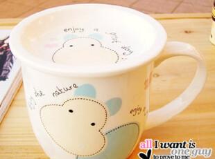 可爱骨瓷杯 带盖杯子 创意卡通动物杯  陶瓷马克杯 情侣 奶牛杯,杯子,