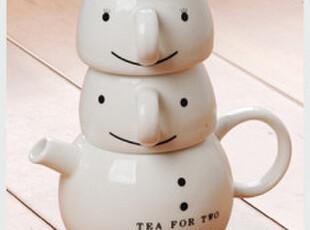 zakka 日本原单外贸 雪人套杯 可爱套杯 圣诞雪人套杯 3和1茶壶,杯子,