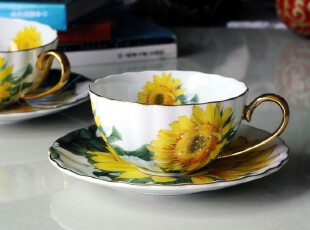 景德镇骨瓷咖啡杯 奶杯 水杯 向日葵情侣咖啡杯 咖啡对杯,杯子,