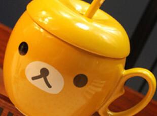 Rilakkuma轻松熊/轻松小熊 FACE苹果造型陶瓷杯牛奶随手杯水杯子,杯子,