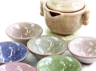 包邮【长物志】七色冰裂釉紫砂7入茶具组(1壶6杯),杯子,