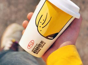 趣味可爱双层隔热杯 创意个性陶瓷杯子 动物有盖马克杯水杯咖啡杯,杯子,