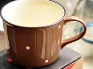可爱仿塘瓷陶瓷杯子 创意复古杯子马克杯水杯情侣杯波点 咖啡杯,杯子,