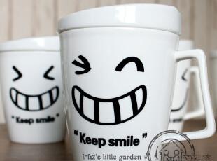 米子家居星巴克杯咖啡杯/马克杯smile创意表情陶瓷水杯 随机发货,杯子,
