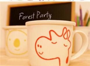 半岛life 呆萌小动物杯带盖早餐杯牛奶杯创意陶瓷杯zakka马克杯,杯子,