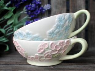 特价外贸订单 手绘陶瓷清新花簇杯 敞口杯 早餐杯 麦片杯 2款入,杯子,