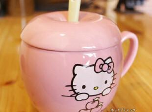 HELLO KITTY 可爱卡通苹果造型陶瓷杯随手杯茶水杯子 带盖送勺子,杯子,