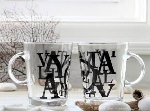 居家日用餐饮用具 个性英文字母水杯茶杯情侣杯随手杯玻璃对杯,杯子,
