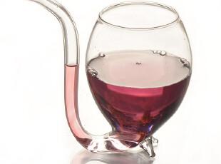 吸血鬼玻璃红酒杯 创意烟斗抽吸式酒杯饮料杯 吸管设计 团购促销,杯子,