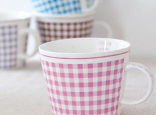 zakka杂货 清新格子陶瓷杯 咖啡杯 随手杯 刻度杯 格子控必备,杯子,