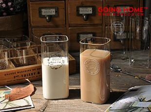 YiZi 杯子 复古 四方玻璃杯 水杯 牛奶杯 酒杯,杯子,