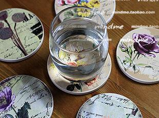 怀旧欧式乡村田园花卉圆形吸水小隔热垫 创意陶瓷软木双面杯垫,杯子,