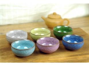 台湾冰裂釉开片 茶杯 陶瓷小杯 罗汉杯 水杯,杯子,