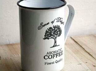 zakka 杯 搪瓷杯 白色树形水杯 怀旧经典 复古咖啡杯 仿旧饮料杯,杯子,