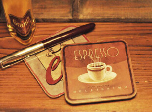 D外贸法式酒吧coffee风格做旧软木杯垫/海洋系列 餐桌摆设(一对),杯子,