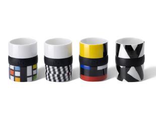 丹麦PO: espresso骨瓷意式咖啡杯 浓缩杯 4小杯礼盒套装 经典享受,杯子,