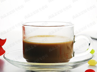 泰国进口 海洋Ocean P00340玻璃咖啡杯碟茶杯碟花茶杯套杯,杯子,