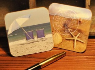 D外贸法式地中海风格软木杯垫/海洋系列 餐桌摆设(一对),杯子,