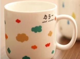 贝贝兔♥ 和风の天空系列 小清新 白陶瓷马克杯 牛奶杯早餐杯,杯子,