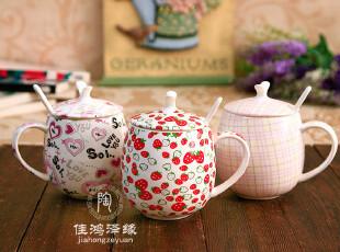 【包邮】天猫创意情侣骨瓷杯 卡通可爱陶瓷杯子 情侣杯 带盖 带勺,杯子,