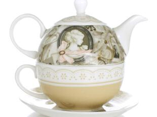 创意茶具 一人杯壶 子母壶茶具 欧式古典骨瓷壶 咖啡杯碟套装包邮,杯子,