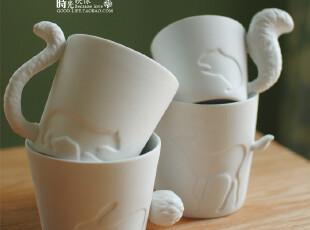 出口日本白色简约杯子 森林动物杯 咖啡杯水杯艺术杯,杯子,