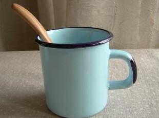 日单尾货 蓝色搪瓷儿童水杯 奶杯 小茶缸,杯子,
