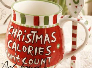 出口欧美 波点带勺水杯 奶杯 咖啡杯 外贸陶瓷杯子 带久勺子杯子,杯子,