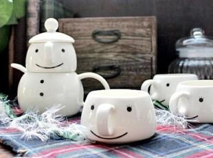 【A grass】外贸手绘陶瓷超可爱笑脸杯(单只),杯子,
