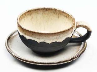 栖凤家居 粗陶 咖啡杯 带把 茶杯子 带杯垫 套装,杯子,