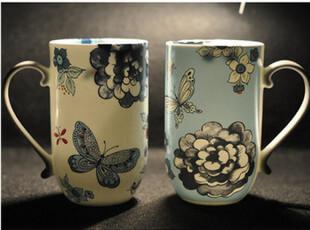 花解语★夜昙白蝴蝶外贸骨瓷杯 欧式骨瓷水杯 对杯 送礼杯子包邮,杯子,