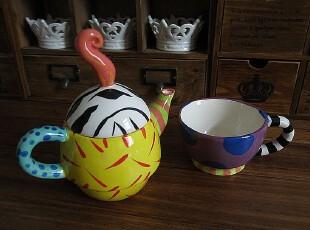 欧美原单 陶瓷彩绘杯壶套装 2合一茶壶茶杯创意咖啡杯马克杯特惠,杯子,