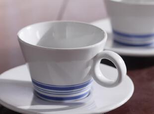 七夕特赠 西餐陶瓷英国皇家 爱琴海系列 雪浪 带杯碟咖啡杯套装,杯子,
