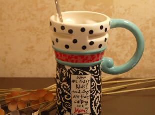正品仟度彩绘陶瓷杯马克杯超大带盖咖啡杯子创意水杯情侣杯彩绘杯,杯子,