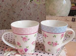 外贸陶瓷水杯花茶牛奶早餐咖啡奶茶杯子星巴克水玉点玫瑰情侣对杯,杯子,