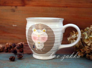Bao ZAKKA 杂货 日式 和风手绘 螺纹 手柄 小鱼猫猫杯,杯子,
