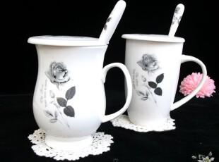 景德镇优质骨瓷咖啡杯/套装黑玫瑰水杯/奶杯/带勺/带盖/高档礼盒,杯子,