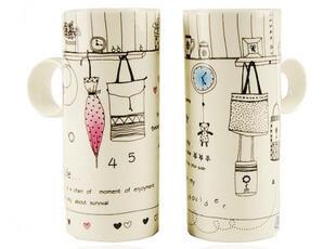 时尚生活创意高筒竹筒水杯子 情侣骨瓷杯 陶瓷对杯 简约咖啡杯,杯子,