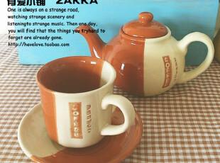 【有爱小铺】 zakka杂货 家居 陶瓷小水壶+杯碟 套装,杯子,