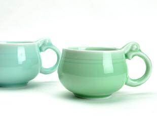 JP3258 龙泉窑 青瓷象耳杯 情侣对杯 双色杯 咖啡杯,杯子,
