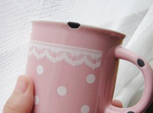 zakka创意 小清新森系波点蕾丝马克杯 陶瓷咖啡杯 仿塘瓷早餐杯,杯子,