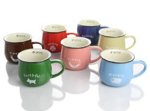 zakka卡通牛奶早餐杯仿搪瓷杯 创意杯子马克杯咖啡杯 陶瓷水杯,杯子,
