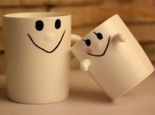 儿童节礼物 可爱笑脸亲子杯情侣对杯陶瓷马克杯子咖啡水杯 礼物,杯子,