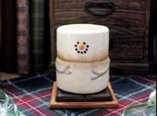 【A grass】外贸手绘陶瓷立体浮雕带底座雪人杯、笔筒,杯子,