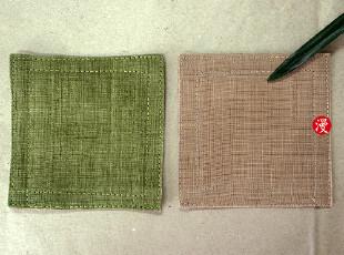 手工编织纯麻布 壶垫 杯垫 单独出售 有肉色和绿色可选,杯子,