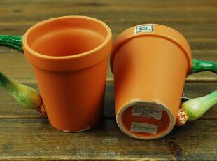 美国百年品牌 D56 陶瓷手绘磨砂 萝卜 茄子 大葱 豌豆脸 造型杯,杯子,