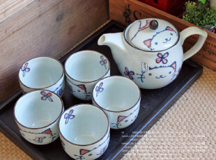 千度悠品 日式和风 陶瓷 招财猫 1壶5杯 茶具 茶壶+茶杯 礼盒,杯子,
