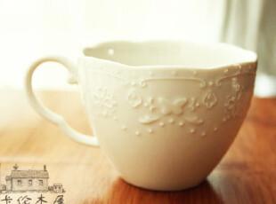 zakka 外单浮雕蕾丝花纹 白瓷 咖啡杯 陶瓷小水杯 奶杯,杯子,