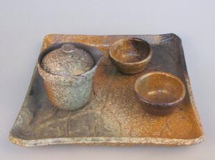 【拙器】仿古陶制茶具套装 茶盘 茶壶 公道杯 品茗杯 KT5007,杯子,