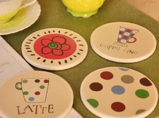 热销.软木+陶瓷.吸水防刮伤防滑杯垫圆形杯托.挂饰壁饰 1个价,杯子,